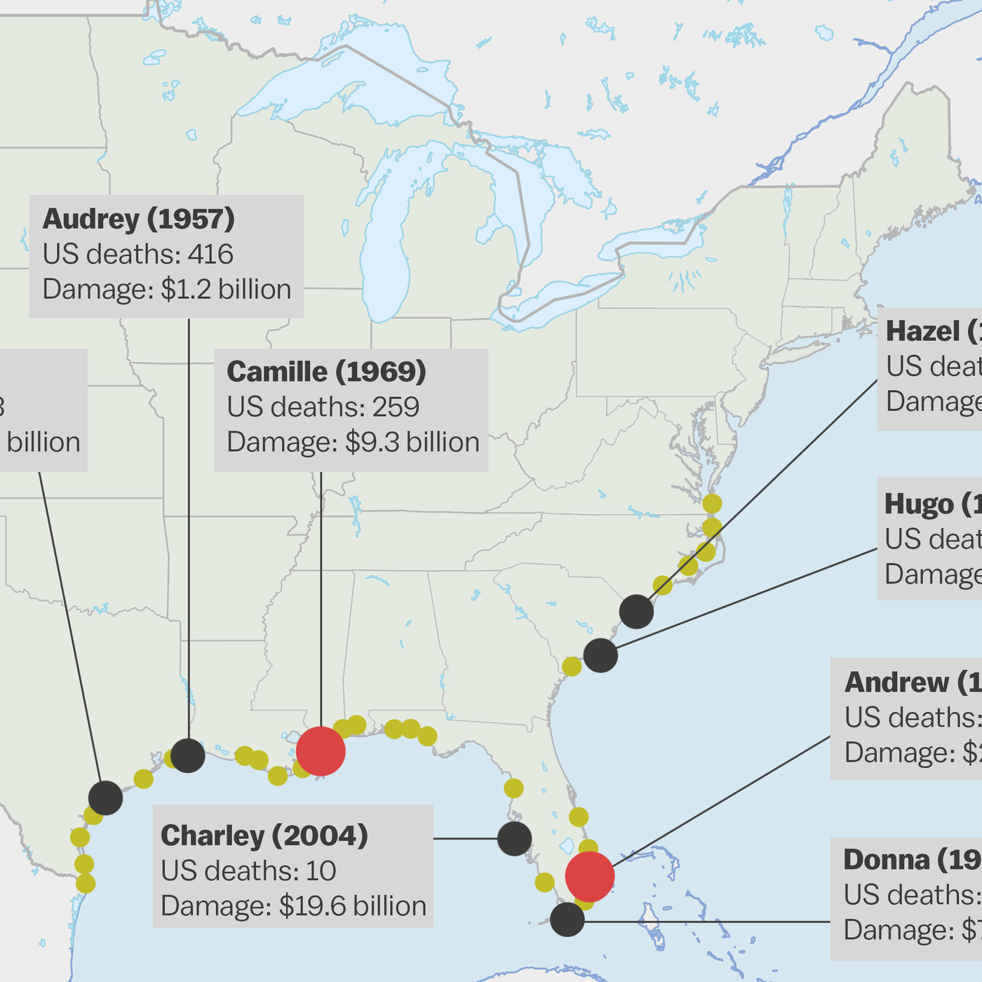 A map of the most powerful hurricanes in the US since 1950 - Vox