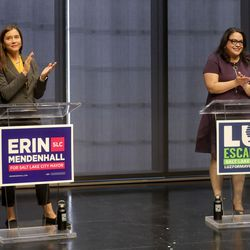 Salt Lake City Councilwoman Erin Mendenhall and Sen. Luz Escamilla, D-Salt Lake City, participate in a Salt Lake City mayoral debate, hosted by the Downtown Alliance, at the Regent Street Black Box at the Eccles Theater in Salt Lake City on Wednesday, Oct. 9, 2019.