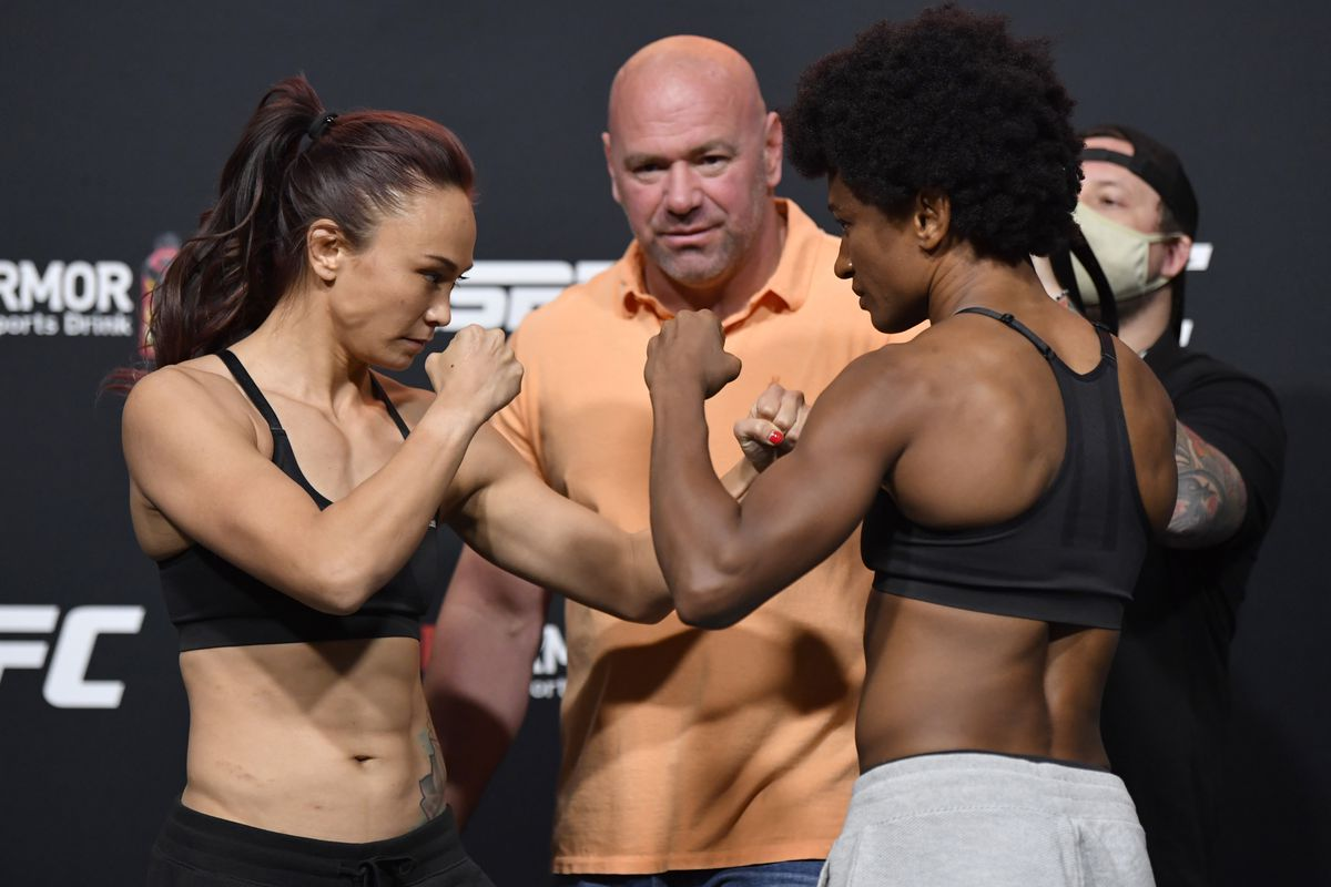 Opponents Michelle Waterson and Angela Hill face off during the UFC Fight Night weigh-in at UFC APEX on September 11, 2020 in Las Vegas, Nevada.