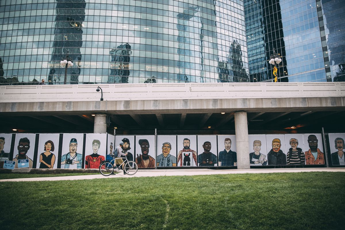 """""""The People in Your Neighborhood,"""" by Don't Fret, is among the new public art works at the Chicago Riverwalk."""