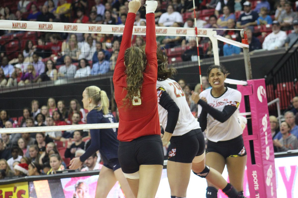 Kelsey Wicinski, Whitney Craigo and Angel Gaskin react to winning a point against Penn State