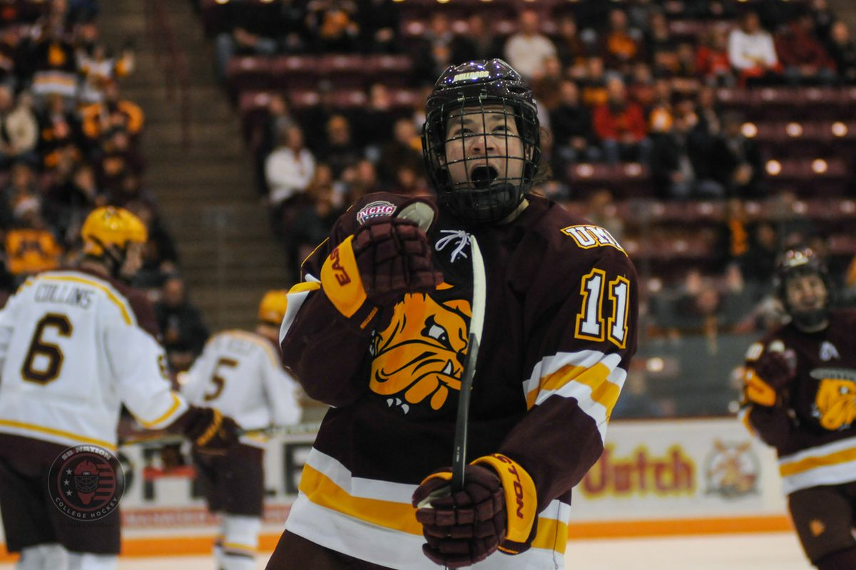 Austin Farley celebrates his first period goal that gave Minnesota Duluth an early 1-0 lead
