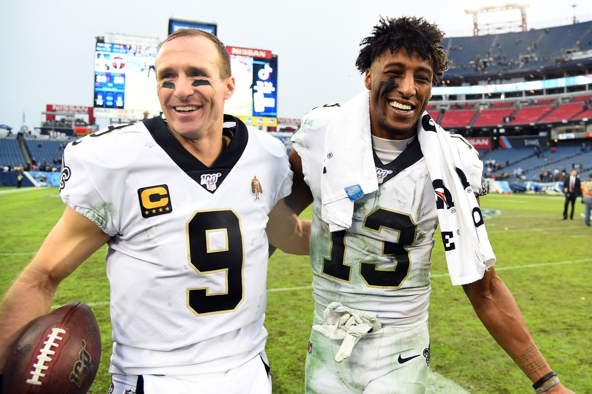 New Orleans Saints wide receiver Michael Thomas and New Orleans Saints quarterback Drew Brees during a post game interview following a win against the Tennessee Titans at Nissan Stadium.
