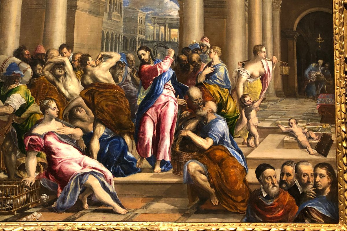 """The El Greco painting """"Christ Driving the Money Changers from the Temple."""""""
