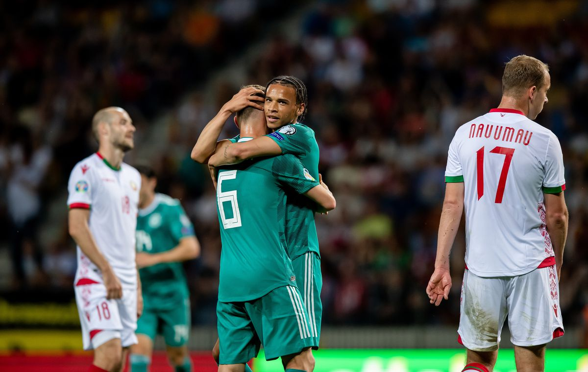 BARYSAW, BELARUS - JUNE 08: Leroy Sane (R) of Germany celebrates with Joshua Kimmich after his team's first goal during the UEFA Euro 2020 qualifier match between Belarus and Germany at Borisov-Arena on June 08, 2019 in Barysaw, Belarus.