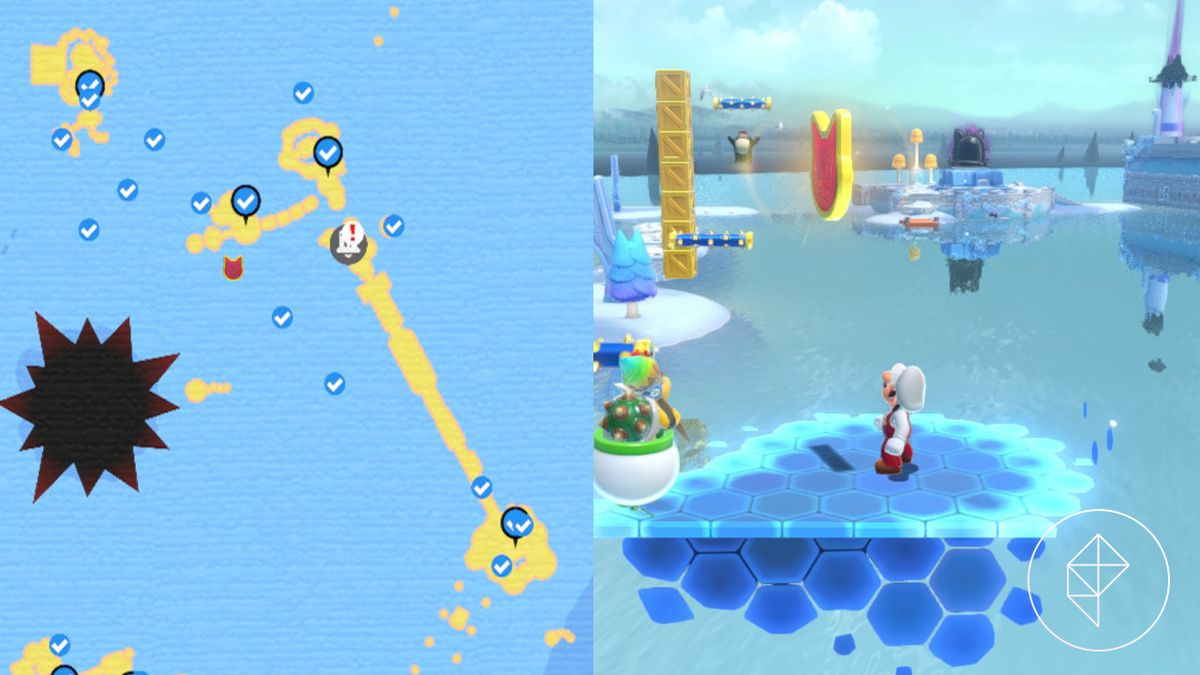 A map showing where to find a Cat Shine Shard floating above an invisible platform over the water