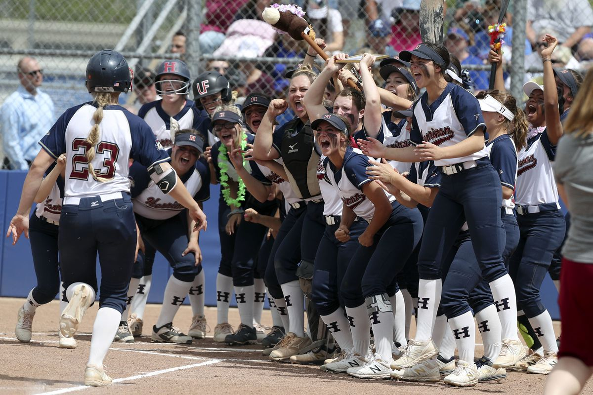 Herriman cheers as Libby Parkinson runs home after hitting a home run during the 6A softball state championship against Layton at Salt Lake Community College in Taylorsville on Thursday, May 30, 2019. Herriman won 9-3.