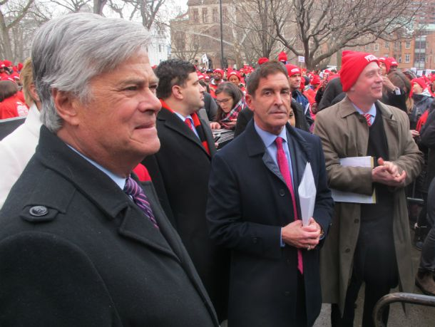 """State Senate majority leader Dean Skelos and Senate Independent Democratic leader Jeff Klein, both of the Bronx, attended the """"Don't Steal Possible"""" rally, along with thousands ofparents, students and teachers Wednesday in front of the state Capitol."""