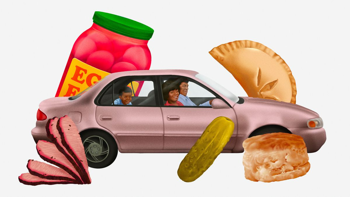 Illustration of a Black family in a sedan surrounded by oversized snacks like a biscuit, pickle, and hand pie.