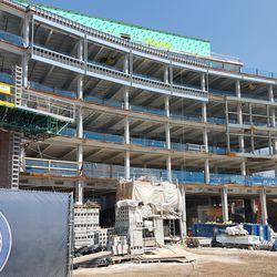 Closer view of south end of plaza building -