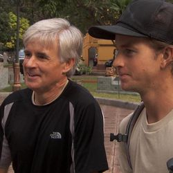 """Utah father-son team Dave, left, and Connor, right, at the Pit Stop at the Vietnam National Museum of History during the 22nd season of """"The Amazing Race"""" when they withdrew from the race. They will be back for season 24 of """"The Amazing Race: All-Stars"""" on Feb. 23."""