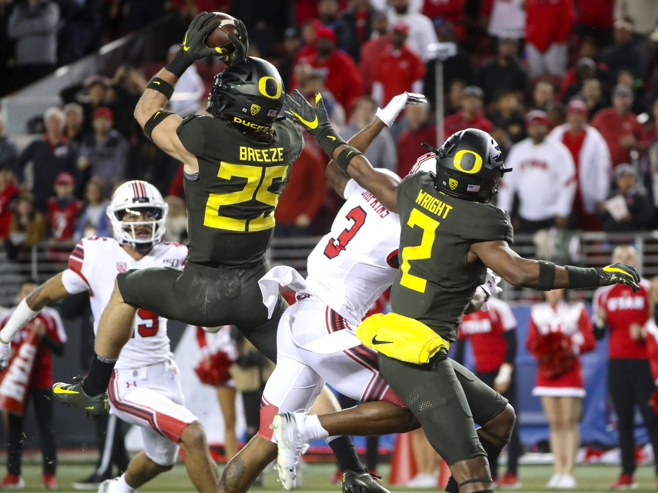 Oregon Ducks safety Brady Breeze (25) intercepts a pass in the end zone intended for Utah Utes wide receiver Demari Simpkins (3) during the Pac-12 Championship game at Levi's Stadium in Santa Clara, Calif., on Friday, Dec. 6, 2019.