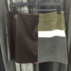 Leather/suede skirt, $279