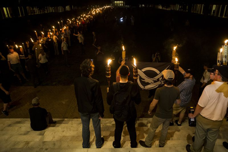 Racist protesters gather at the University of Virginia in Charlottesville.