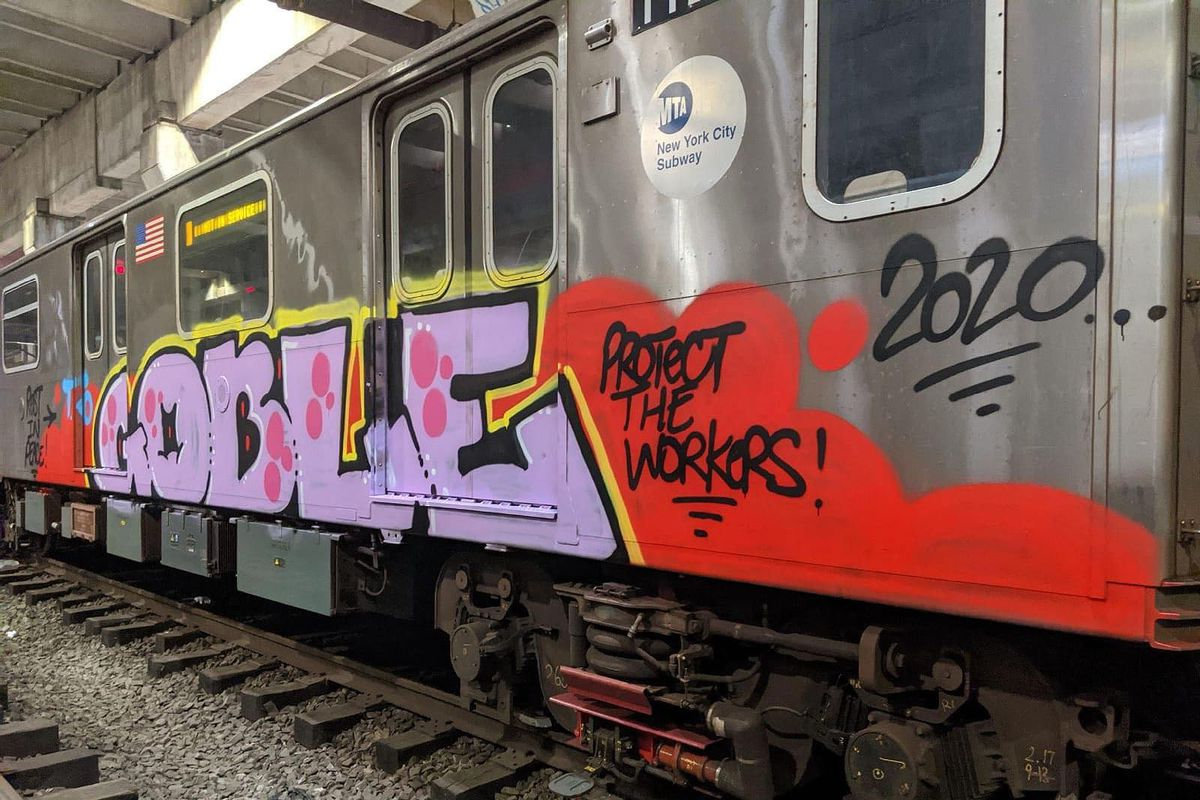 A 4 train was taken out of service in the Bronx early Thursday morning, after being found with a graffiti memorial to train operator Garrett Goble.
