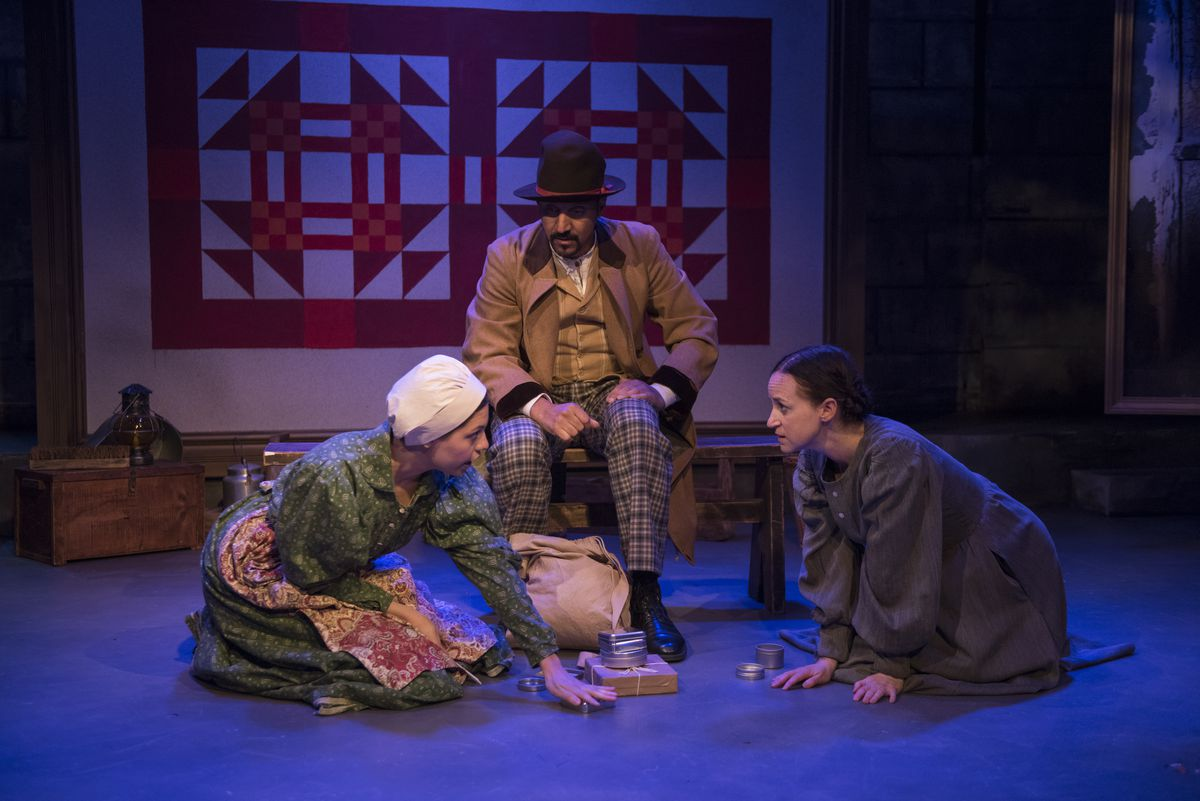"""Ayssette Munoz (from left) plays Mary Whitney, with Amro Salama as Jeremiah and Ashley Neal as Grace Marks in """"Alias Grace,"""" at Rivendell Theatre. (Photo: Michael Brosilow)"""