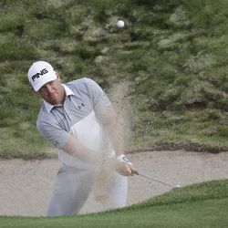 Daniel Summerhays hits from a bunker on the fifth hole during the second round of the U.S. Open golf tournament Friday, June 16, 2017, at Erin Hills in Erin, Wis. (AP Photo/Chris Carlson)
