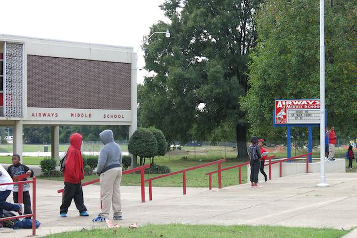 Students mill outside of Airways Middle School in Memphis after dismissal. The school has been scheduled to be co-operated next school year by Yes Prep Public Schools and Shelby County Schools, but Yes Prep charter leaders pulled out of the deal on Tuesday.