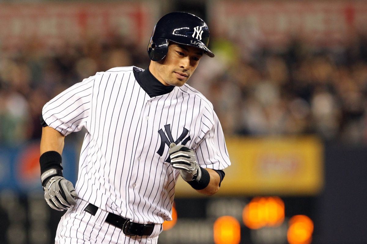 Aug 19, 2012; Bronx, NY, USA;  New York Yankees right fielder Ichiro Suzuki (31) rounds the bases after hitting a home run during the fourth inning against the Boston Red Sox at Yankee Stadium. Mandatory Credit: Anthony Gruppuso-US PRESSWIRE
