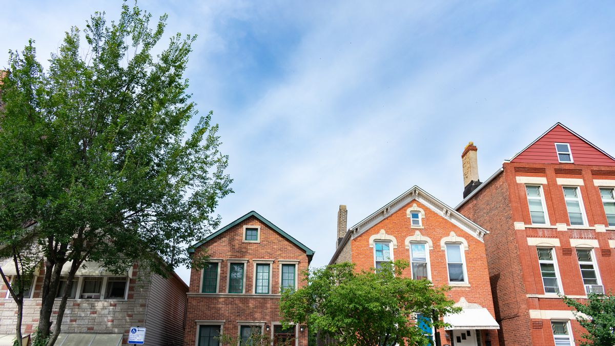 Brick houses sit next to green trees and under a blue sky.