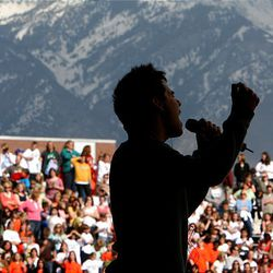 """""""American Idol"""" finalist David Archuleta performs for the hometown crowd during a pep rally at Murray High School, where he attends school."""