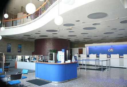 Bill Pavlecic's modernist details at the Brookfield Citibank at 9009 Ogden Avenue extend to the globe lights and futuristic writing tables. | Provided photo