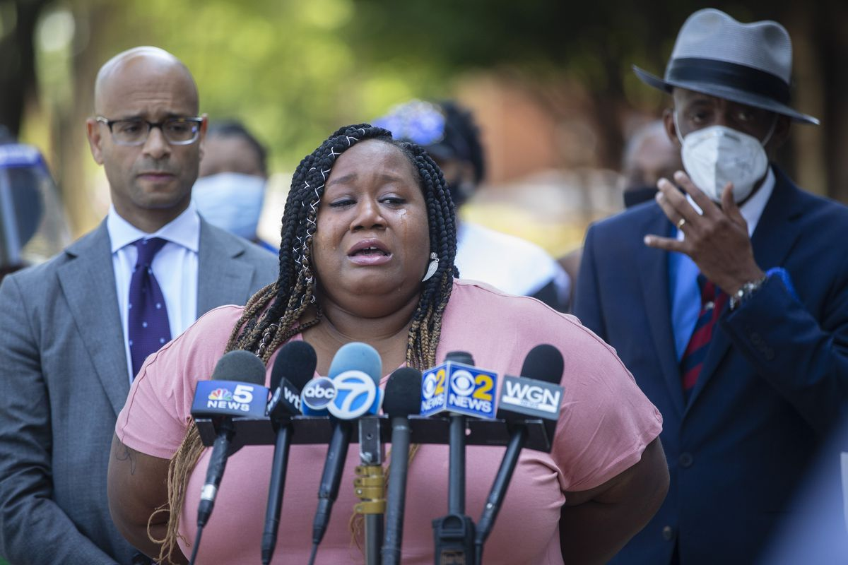 Victoria Powell speaks to the media about the loss of her daughter's father during a news conference outside the Chicago Police Department headquarters at 3522 S Michigan Ave in Bronzeville, Thursday, July 16, 2020.