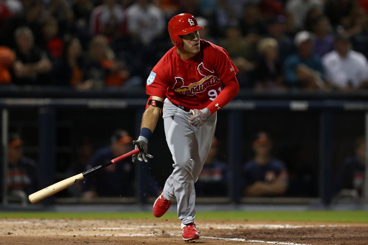 St. Louis Cardinals right fielder Dylan Carlson (91) hits a two run double against the Houston Astros in the fourth inning at FITTEAM Ballpark of the Palm Beaches.