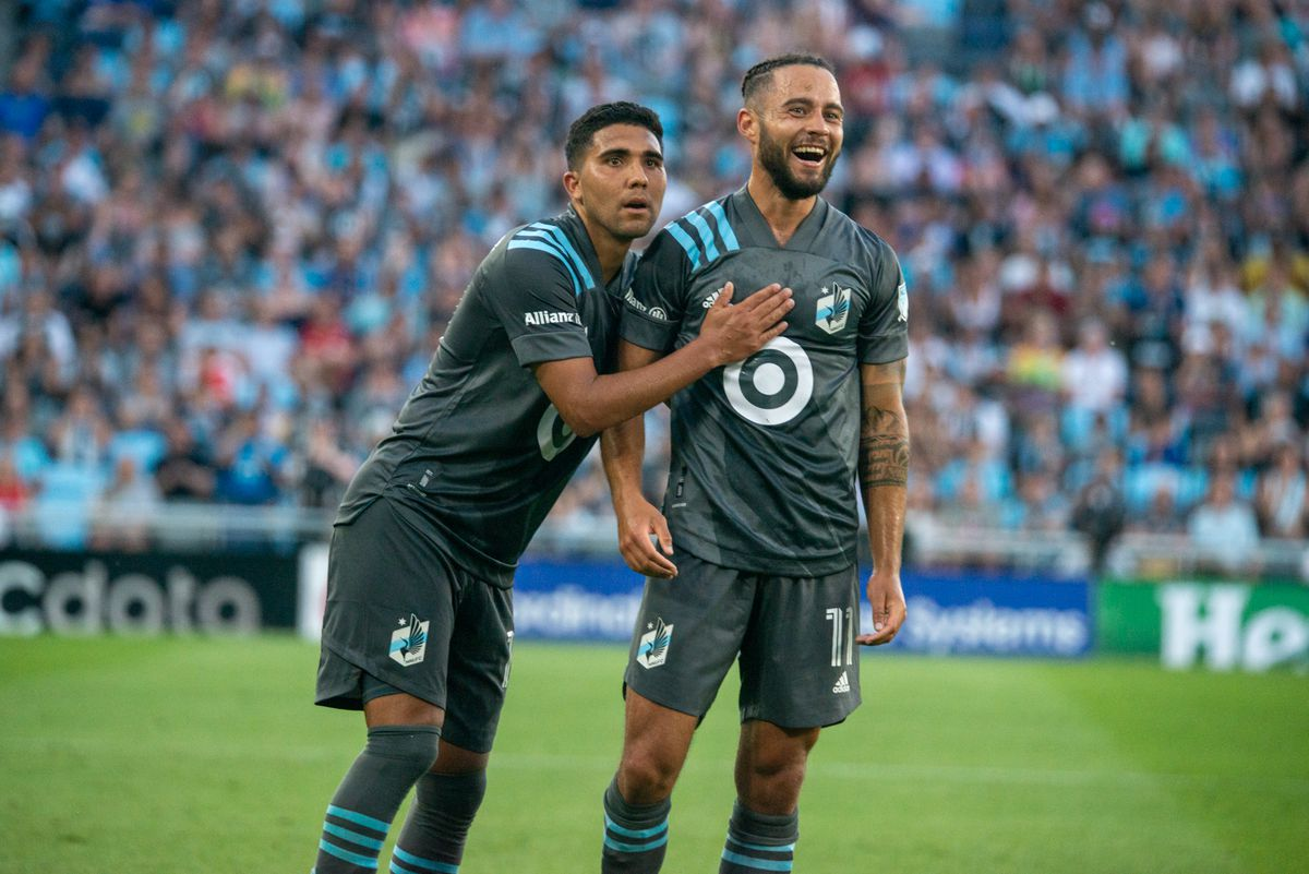 June 23, 2021 - Saint Paul, Minnesota, United States - Minnesota United plays Niko Hansen and Emmanuel Reynoso react to something during a game against Austin FC at Allianz Field. (Photo by Tim C McLaughlin)