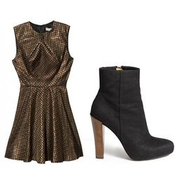 """'50s silhouette in metallic + sexy-badass hybrid booties = sweet but tough   <b>Opening Ceremony</b> Cross-Panel Dress, <a href=""""http://otteny.com/catalog/clothing/dresses/cross-panel-dress.html"""">$390</a> at OTTE, <b>Theory</b> Debra Ogden Ankle Bootie in"""