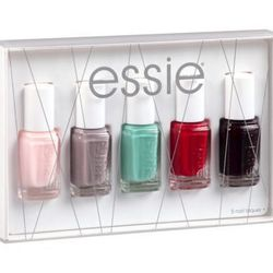 """The <strong>Essie</strong> Nail Color 2013 Holiday Gift Set, <a href=""""http://www.target.com/p/essie-nail-color-2013-holiday-gift-set/-/A-14776777#prodSlot=medium_1_1&term=essie+gift"""">$15</a> at Target, comes with the classic colors (like Ballet Slippers)"""