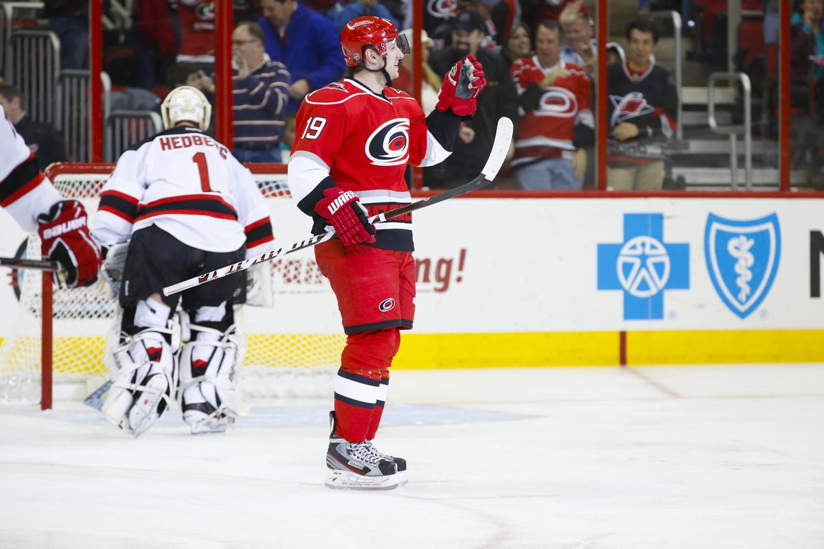 Five times, the Canes celebrated a goal against Johan Hedberg tonight.  Here's Jiri Tlusty after his first goal, finishing a 3-on-1.