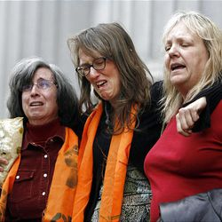 Tim DeChristopher's supporters sing and weep following the jury's finding him guilty on two federal charges.