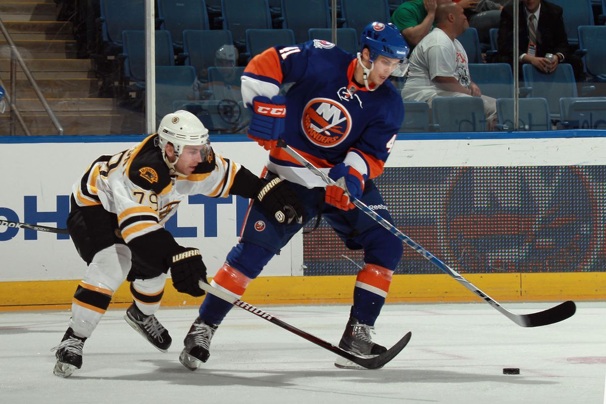 David Warsofsky finds himself to be the weaker David during a rookie game at Nassau Coliseum.