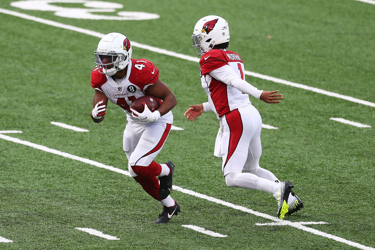 Kenyan Drake #41 of the Arizona Cardinals in action against the New York Giants at MetLife Stadium on December 13, 2020 in East Rutherford, New Jersey. Arizona Cardinals defeated the New York Giants 26-7.