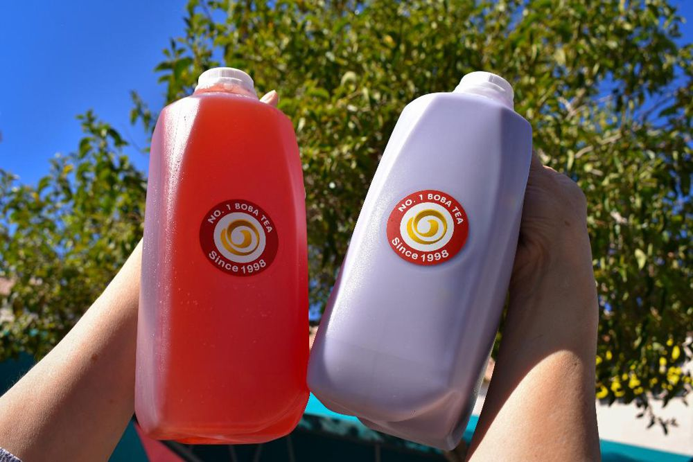 Fresh fruit boba teas can now be ordered in larger sized jugs at No. 1 Boba Tea.