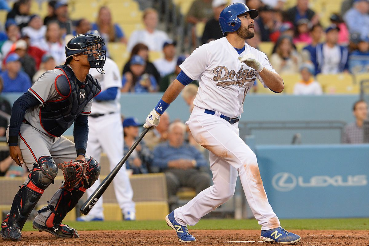 Andre Ethier hit the first of three home runs in the eighth inning for the Dodgers.