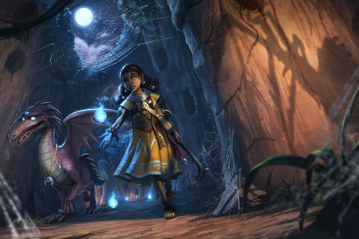 A purple dragon trails behind a young Black woman in the world of Pathfinder 2e.