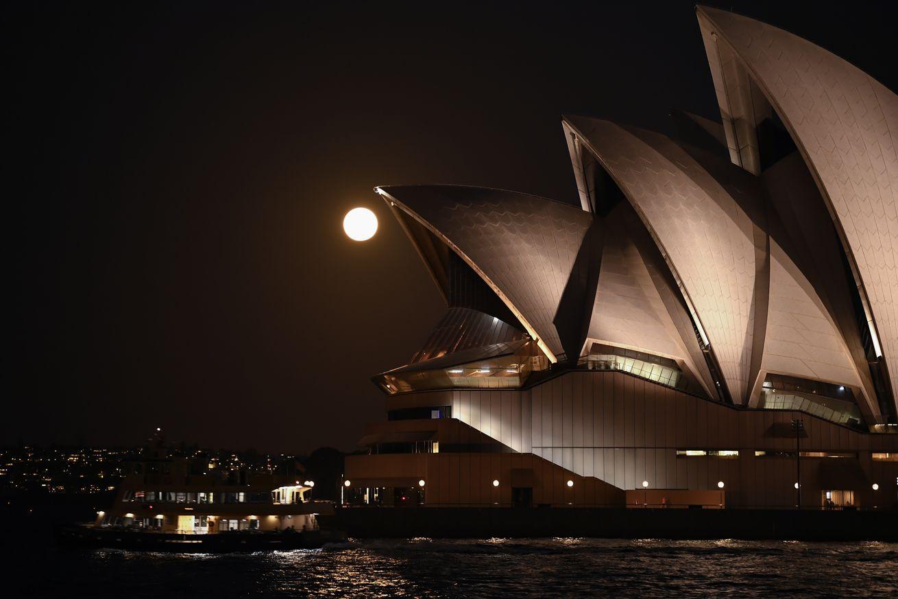Pink Super Moon Seen Over Sydney