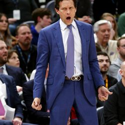 Utah Jazz head coach Quin Snyder yells during the game as the Utah Jazz and the Denver Nuggets play an NBA basketball game at Vivint Arena in Salt Lake City on Wednesday, Feb. 5, 2020. Denver won 98-95, giving the Jazz their fifth straight loss.