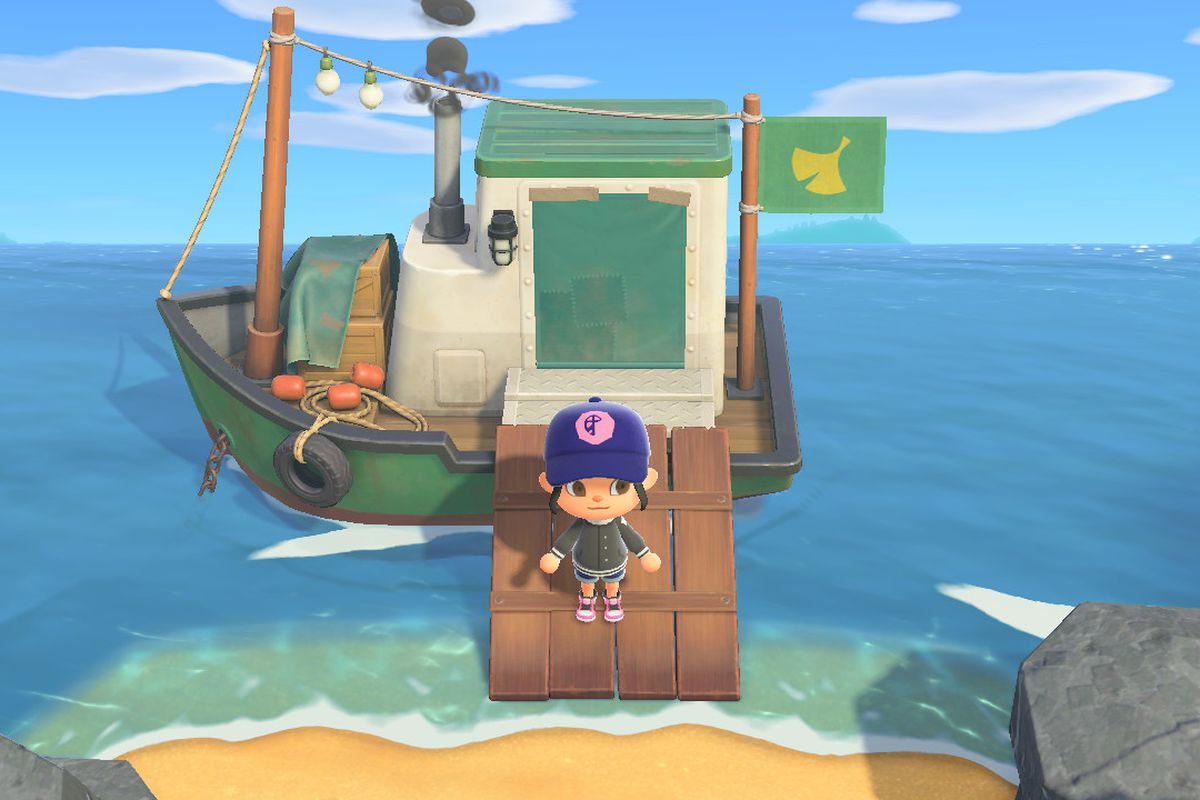 An Animal Crossing character stands on Redd's boat