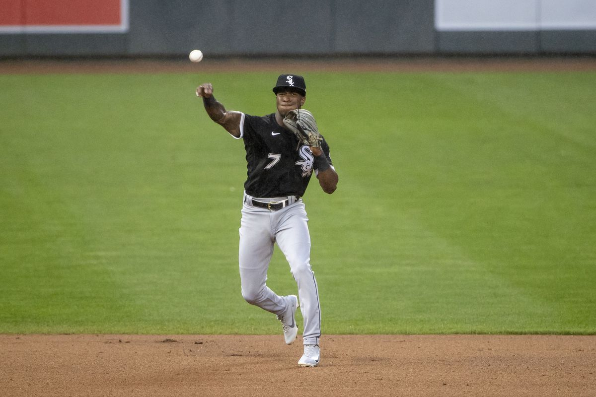 Chicago White Sox shortstop Tim Anderson throws the ball to first base for an out in the fourth inning at Target Field.