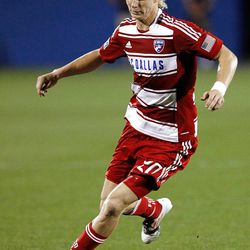 FRISCO, TX - APRIL 25:  Brek Shea #20 of the FC Dallas moves the ball down field against Real Salt Lake at FC Dallas Stadium on April 25, 2012 in Frisco, Texas.  (Photo by Tom Pennington/Getty Images)