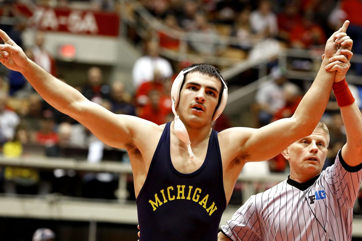 Michigan's Domenic Abounader, who won his first Big Ten championship this year, is a contender for the 184-pound championship.