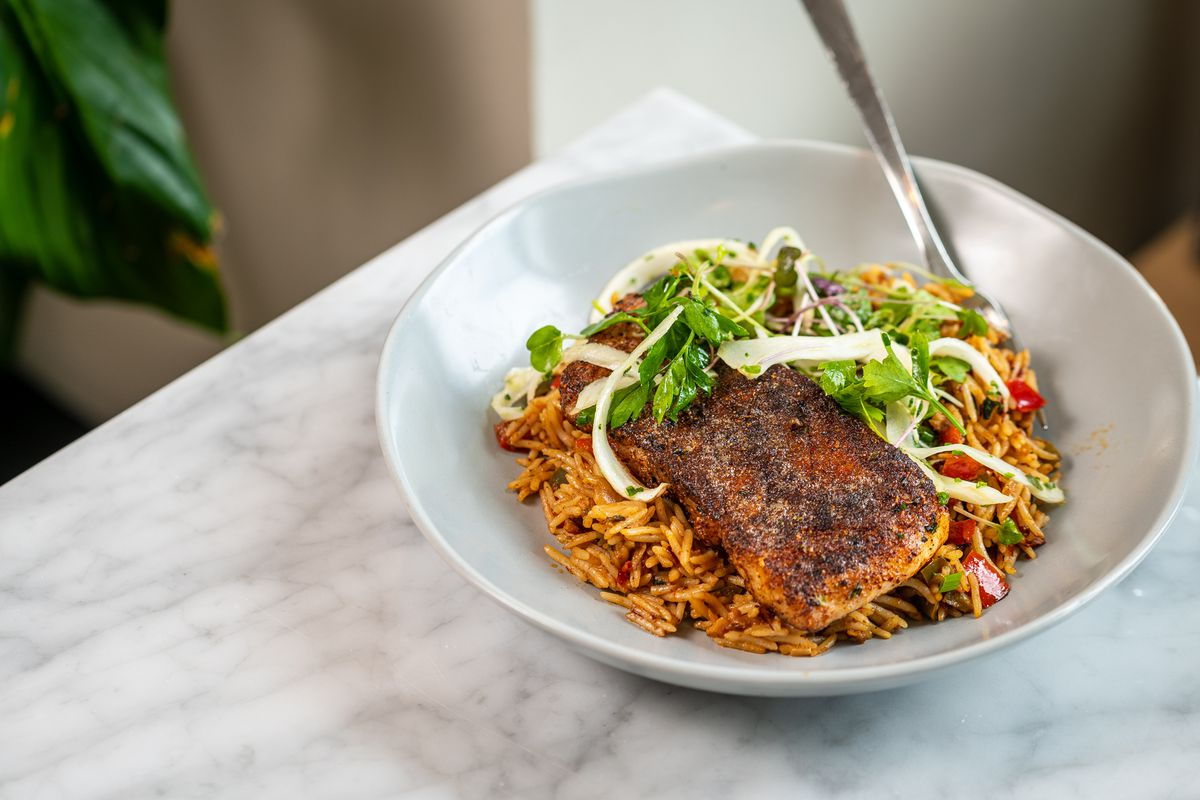 ABC Pony's new blackened rockfish comes with a dirty rice made with chicken liver XO sauce