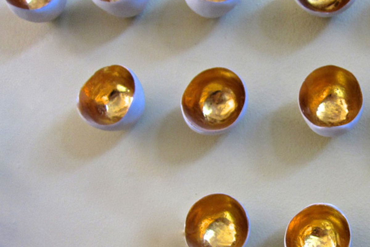 """Gold Leaf Wall Pods, <a href=""""http://shop.newstoneagela.com/product/test-2"""">$28</a> for set of three at New Stone Age"""