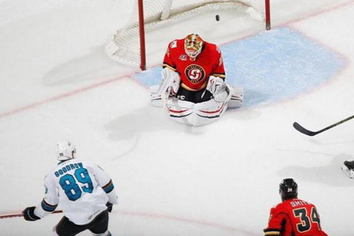 San Jose Barracuda forward Barclay Goodrow watches as the puck beats Stockton Heat goaltender Joni Ortio in the second period of the Barracuda's 5-1 win at the SAP Center on Sunday eventing. (Instagram.com/SJBarracuda)