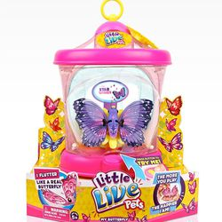 The <b>Little Live Pets Butterfly House</b> is like a Tamagotchi pet come to life. Kids can hold the battery-operated butterfly in the palm of their hands and keep them happy through different stages of feeding, play and sleep. In turn, the butterfly resp