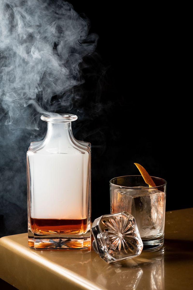 mixtape smoke cocktail glass table bottle