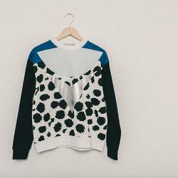 Etre Cecile cheetah insignia boyfriend sweatshirt, $175